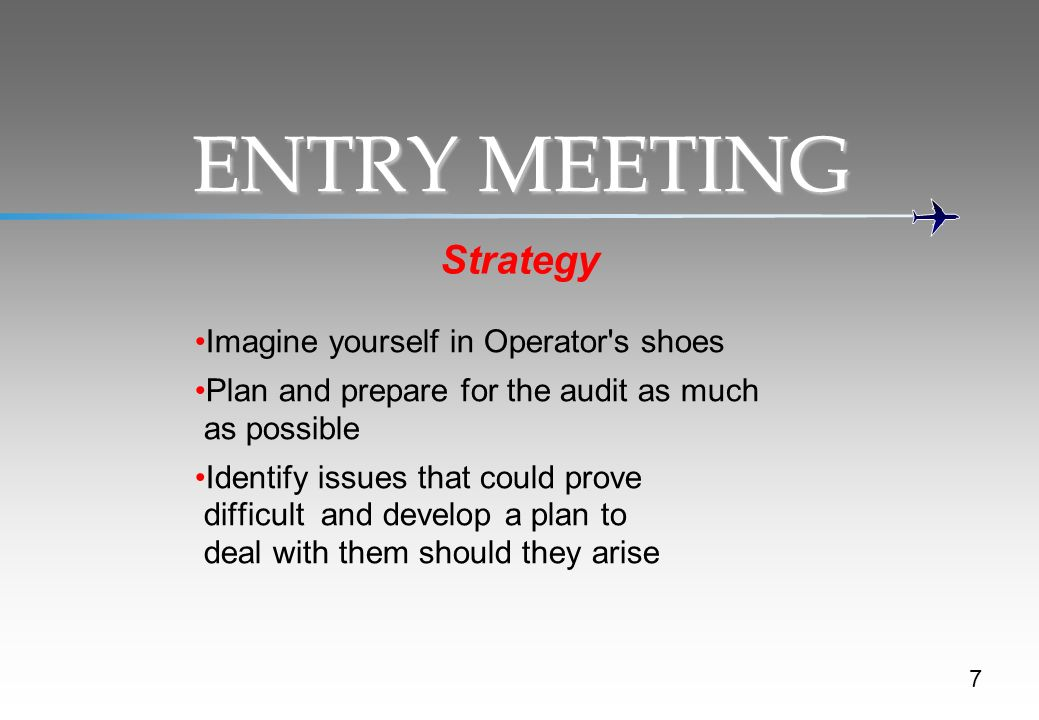 ENTRY MEETING Strategy Imagine yourself in Operator s shoes