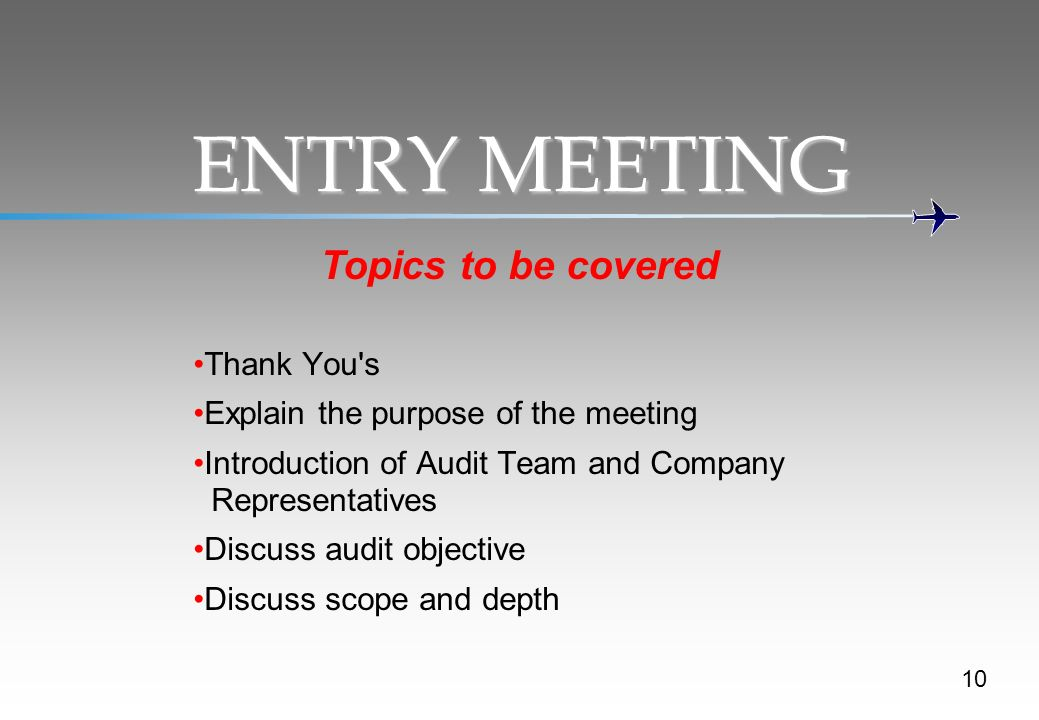 ENTRY MEETING Topics to be covered Thank You s