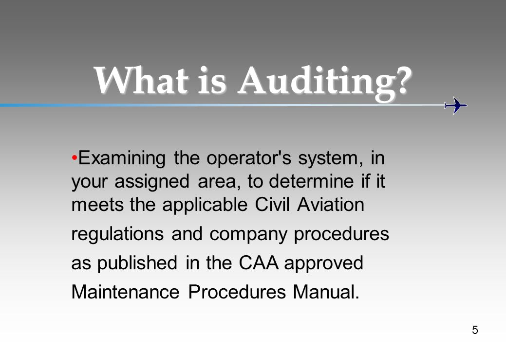 What is Auditing Examining the operator s system, in your assigned area, to determine if it meets the applicable Civil Aviation.