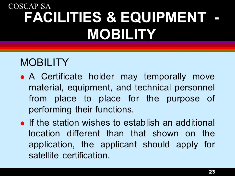 FACILITIES & EQUIPMENT - MOBILITY