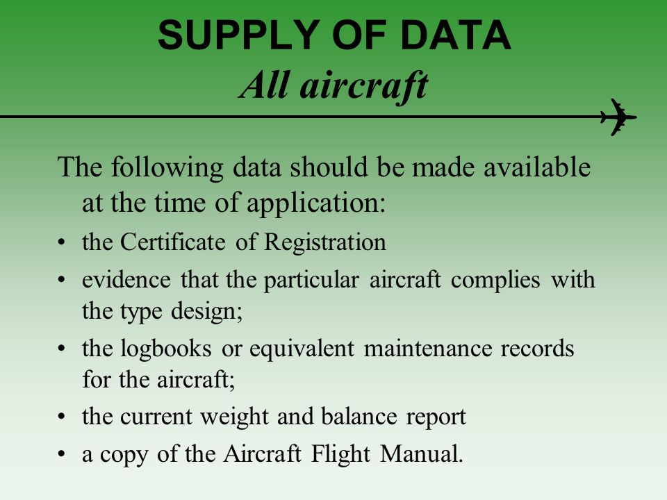 SUPPLY OF DATA All aircraft