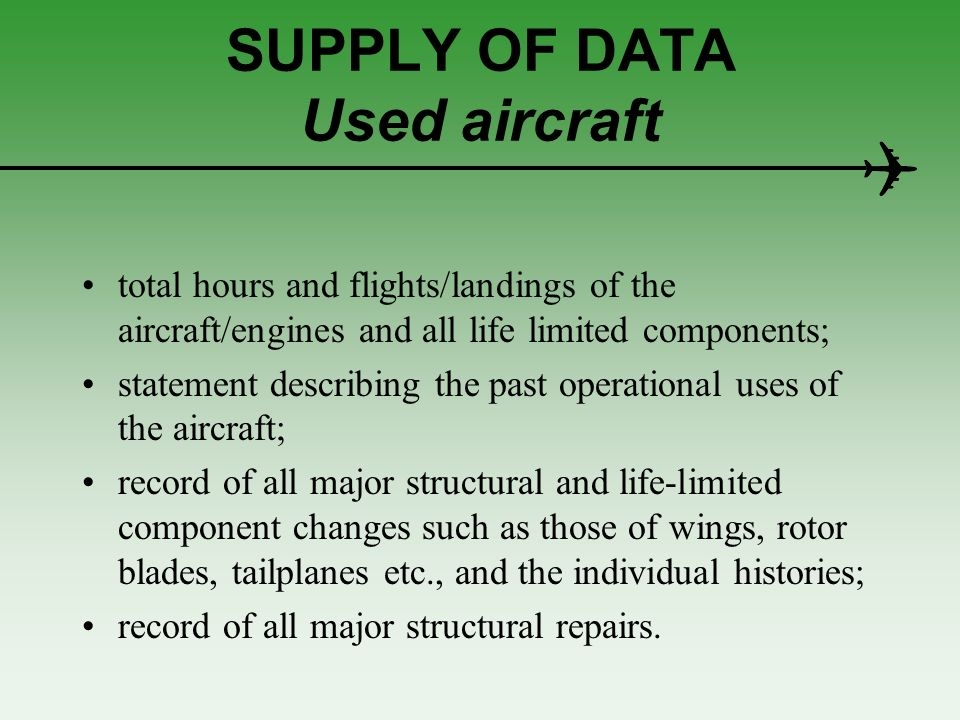 SUPPLY OF DATA Used aircraft