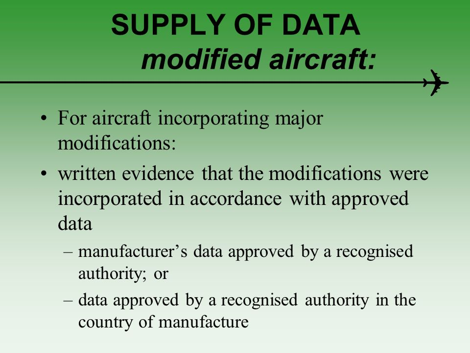 SUPPLY OF DATA modified aircraft: