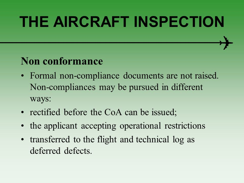 THE AIRCRAFT INSPECTION