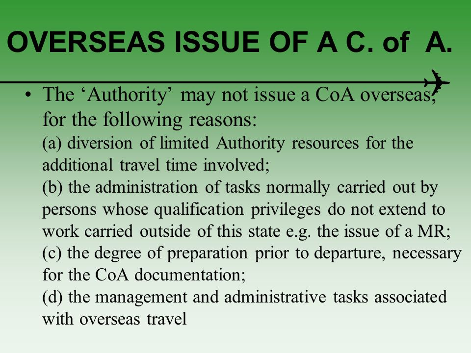 OVERSEAS ISSUE OF A C. of A.