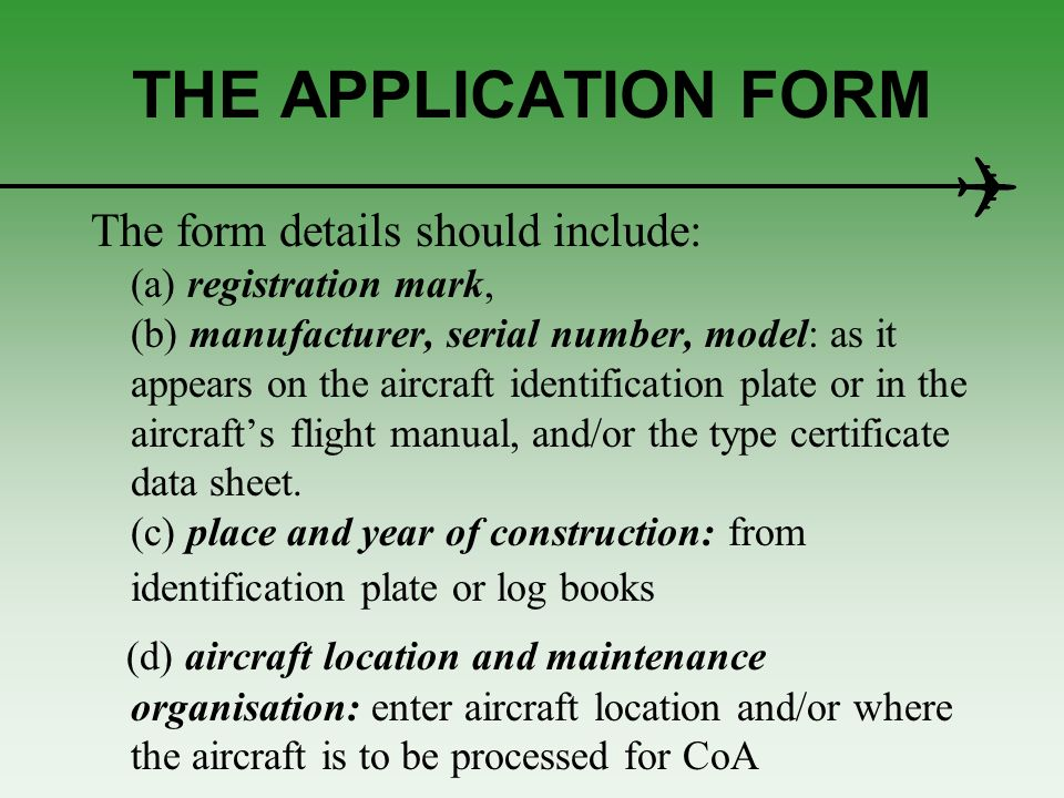 Standard certificate of airworthiness ppt download 9 the application sciox Image collections