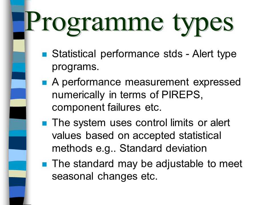 Programme types Statistical performance stds - Alert type programs.