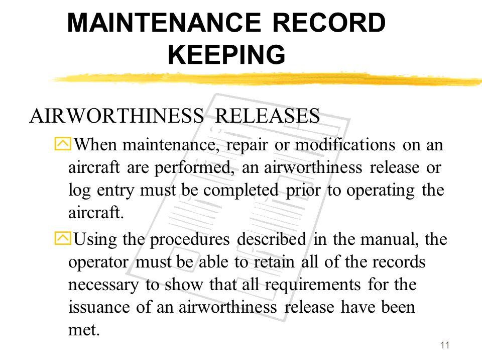 MAINTENANCE RECORD KEEPING