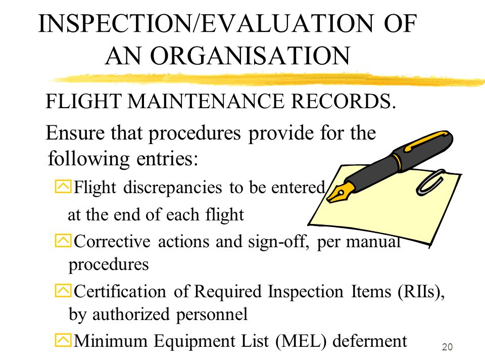 INSPECTION/EVALUATION OF AN ORGANISATION