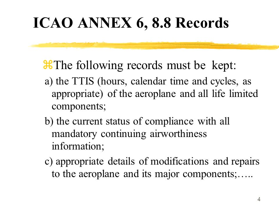 The following records must be kept: