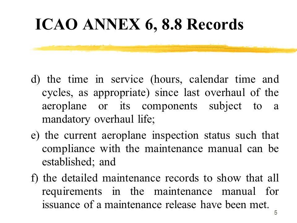 ICAO ANNEX 6, 8.8 Records
