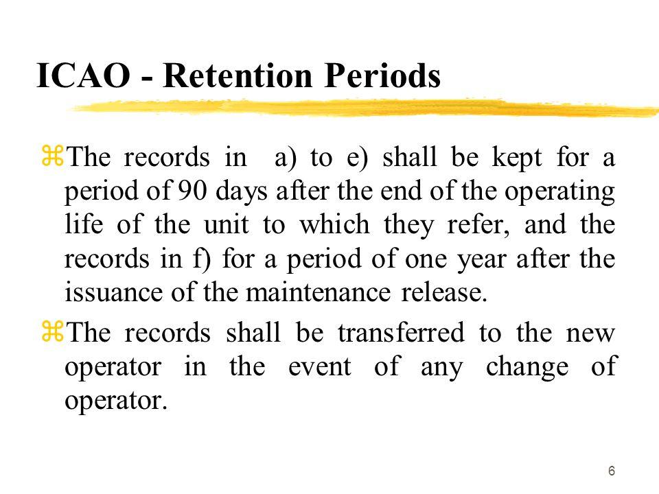 ICAO - Retention Periods
