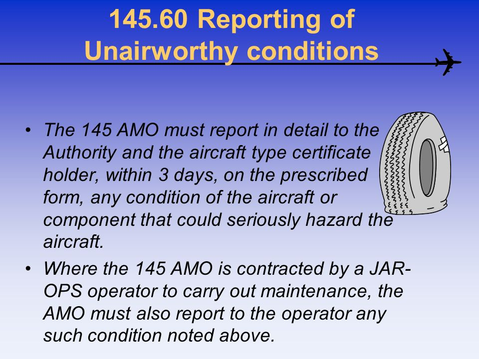 145.60 Reporting of Unairworthy conditions