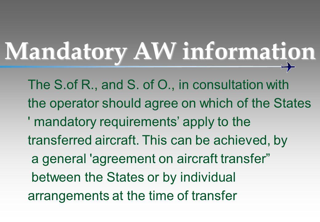 Mandatory AW information
