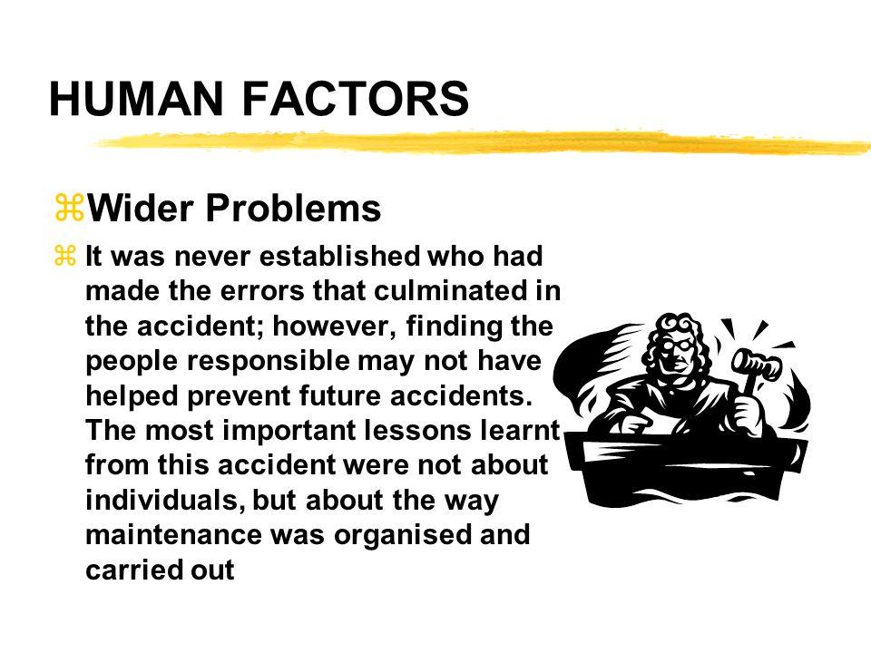 HUMAN FACTORS Wider Problems