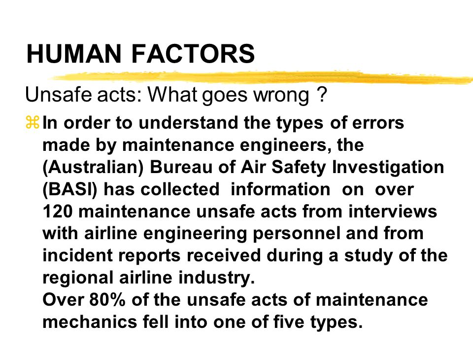 HUMAN FACTORS Unsafe acts: What goes wrong