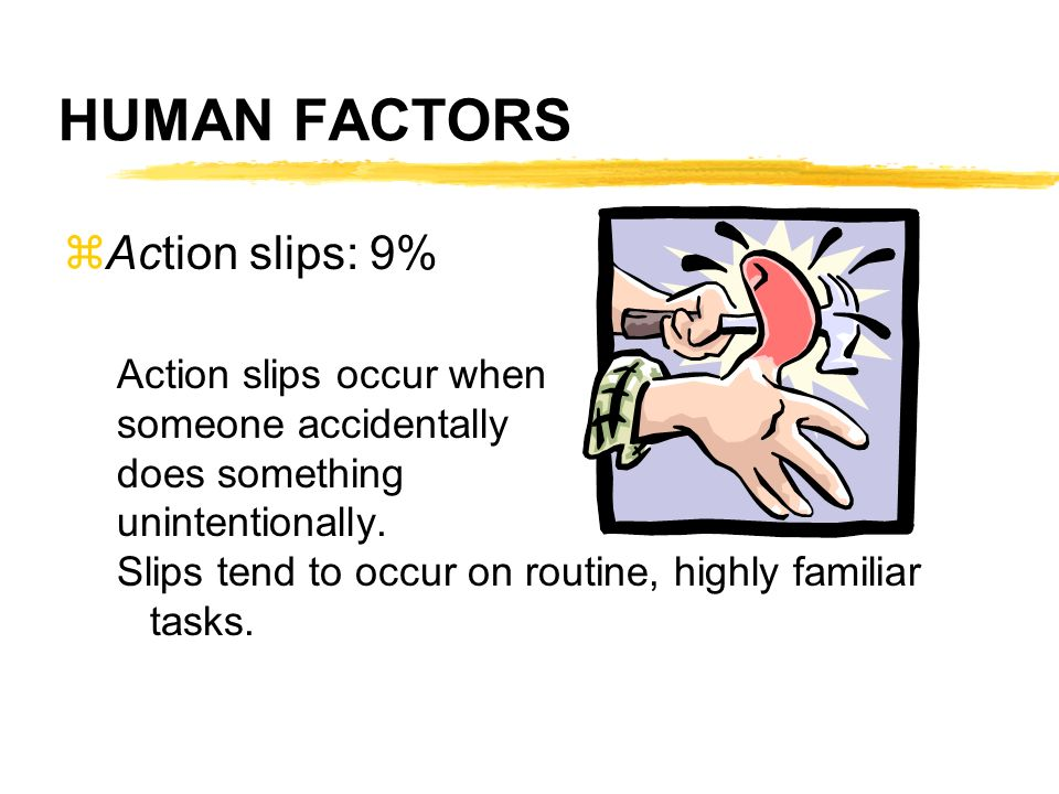HUMAN FACTORS Action slips: 9% Action slips occur when