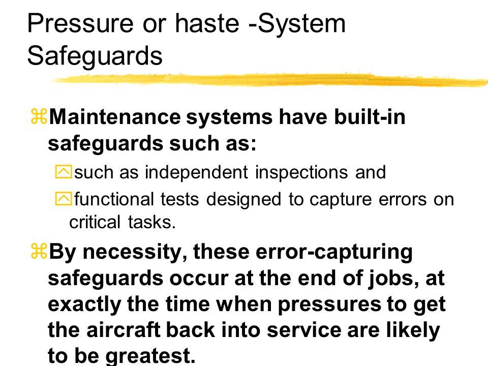 Pressure or haste -System Safeguards