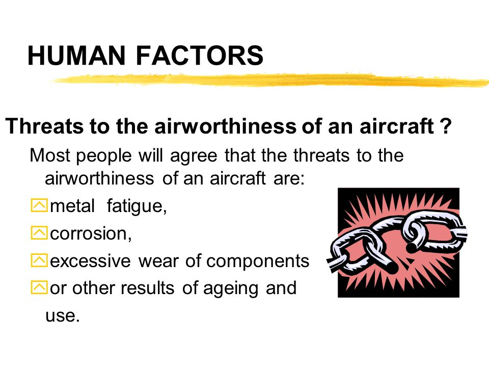 HUMAN FACTORS Threats to the airworthiness of an aircraft