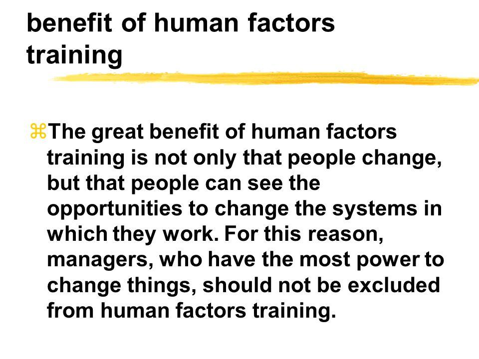 benefit of human factors training