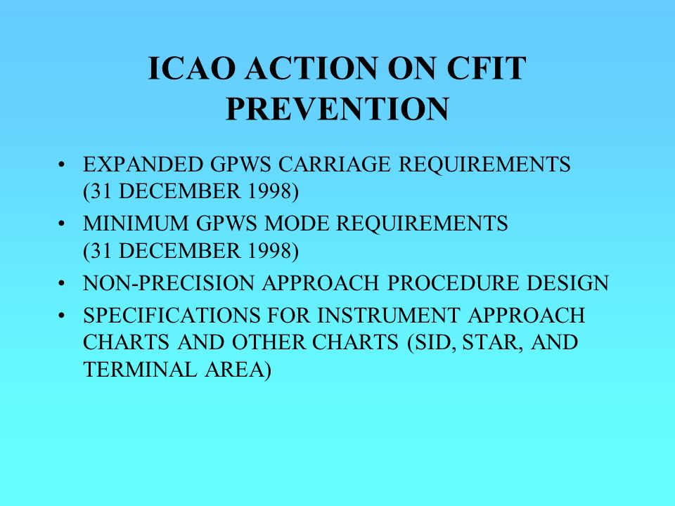 ICAO ACTION ON CFIT PREVENTION