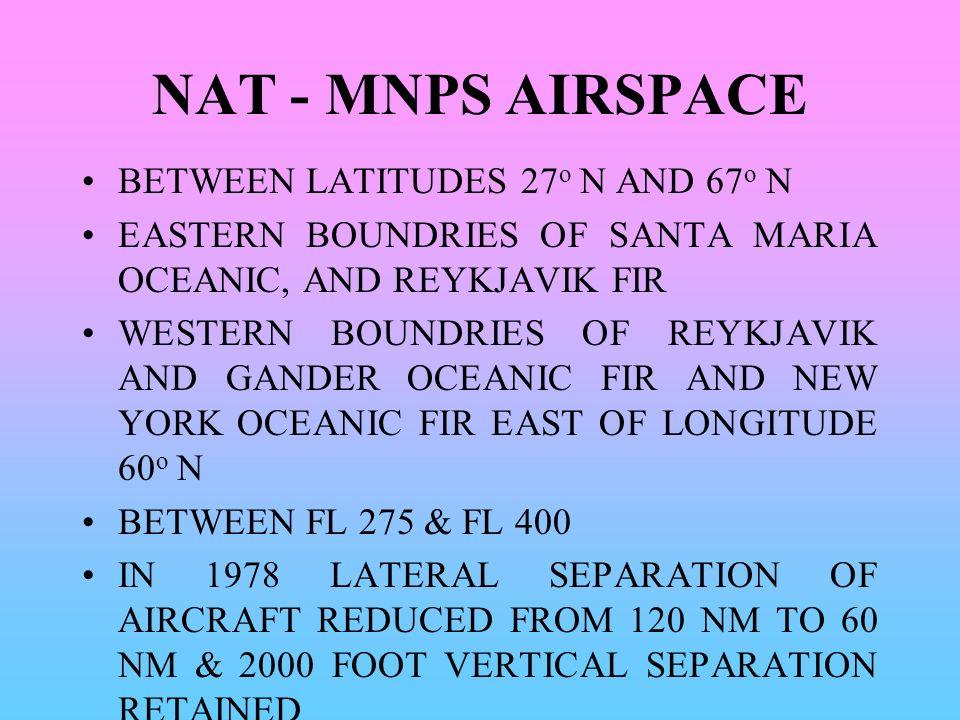 NAT - MNPS AIRSPACE BETWEEN LATITUDES 27o N AND 67o N