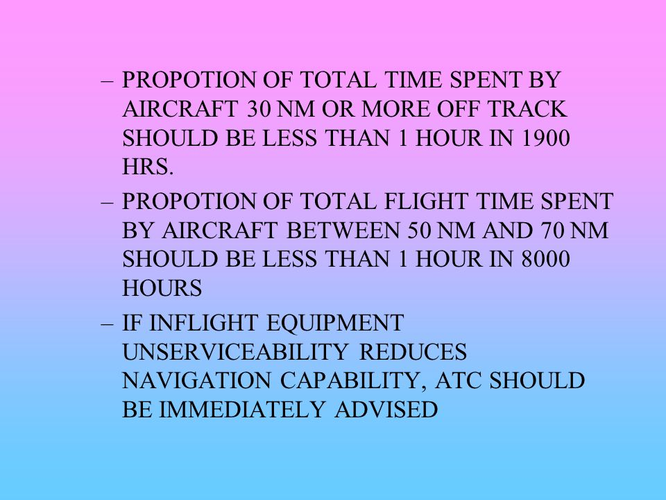 PROPOTION OF TOTAL TIME SPENT BY AIRCRAFT 30 NM OR MORE OFF TRACK SHOULD BE LESS THAN 1 HOUR IN 1900 HRS.