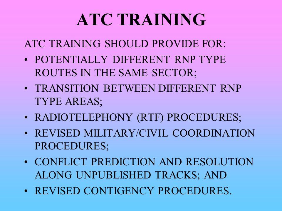 ATC TRAINING ATC TRAINING SHOULD PROVIDE FOR: