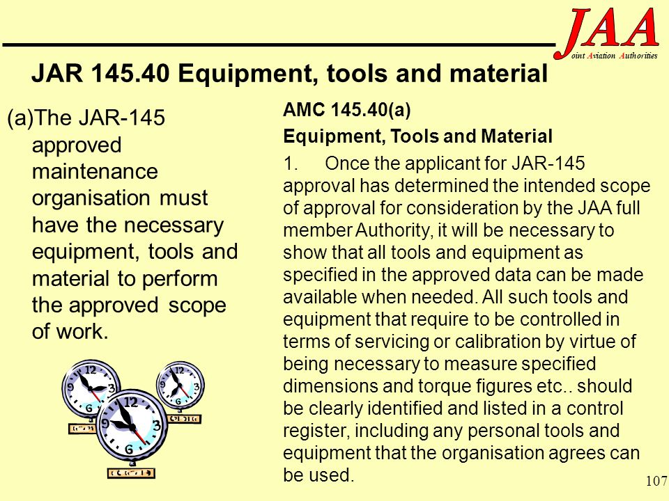 JAR Equipment, tools and material