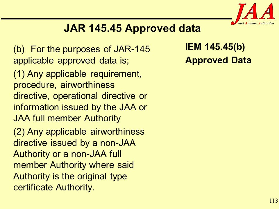 JAR 145.45 Approved data Approved Data