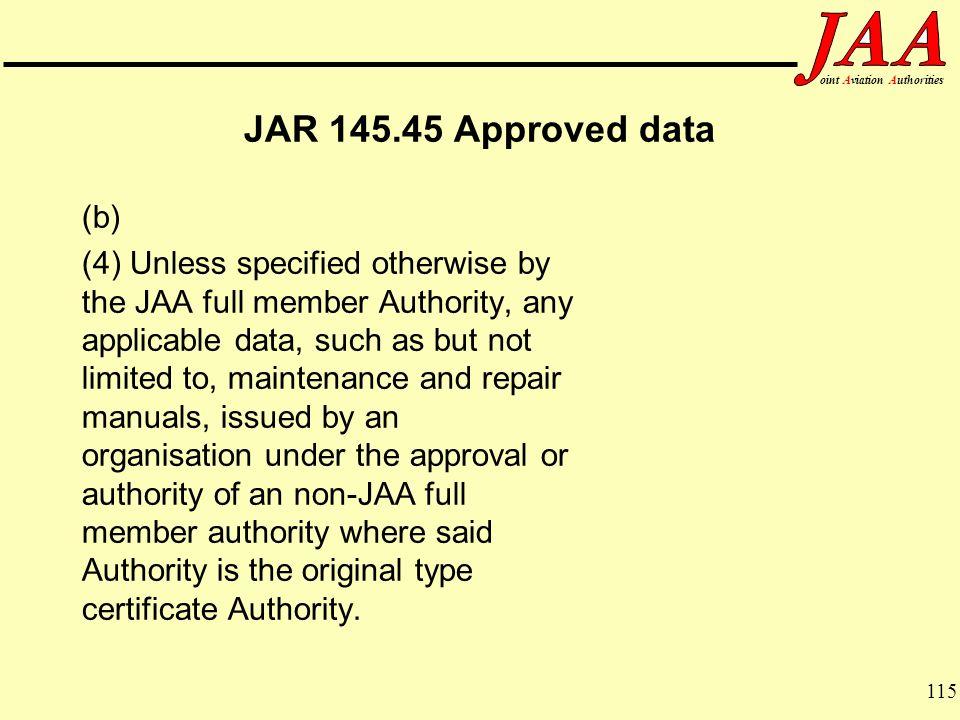 JAR 145.45 Approved data (b)