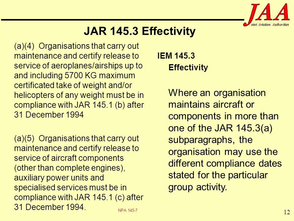 JAR 145.3 Effectivity IEM 145.3 Effectivity