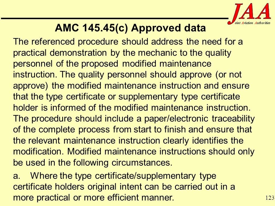 AMC 145.45(c) Approved data