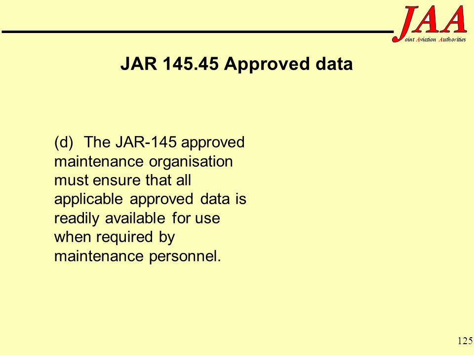 JAR 145.45 Approved data