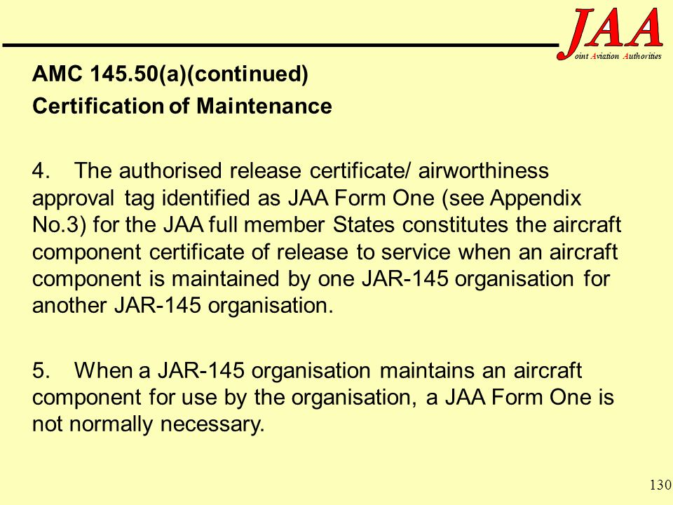 Certification of Maintenance