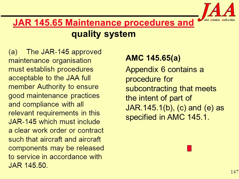 JAR Maintenance procedures and quality system