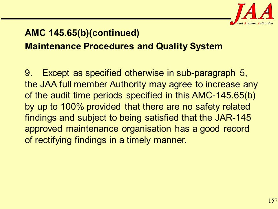 Maintenance Procedures and Quality System