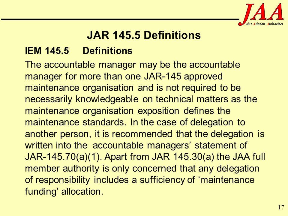 JAR 145.5 Definitions IEM 145.5 Definitions