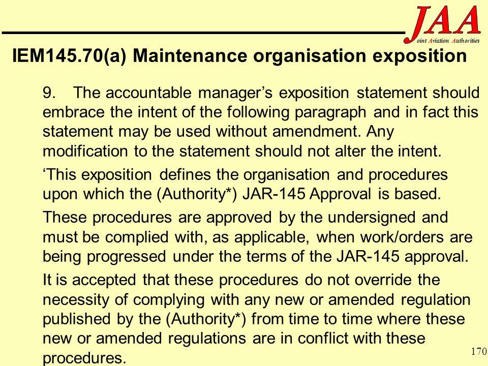 IEM145.70(a) Maintenance organisation exposition