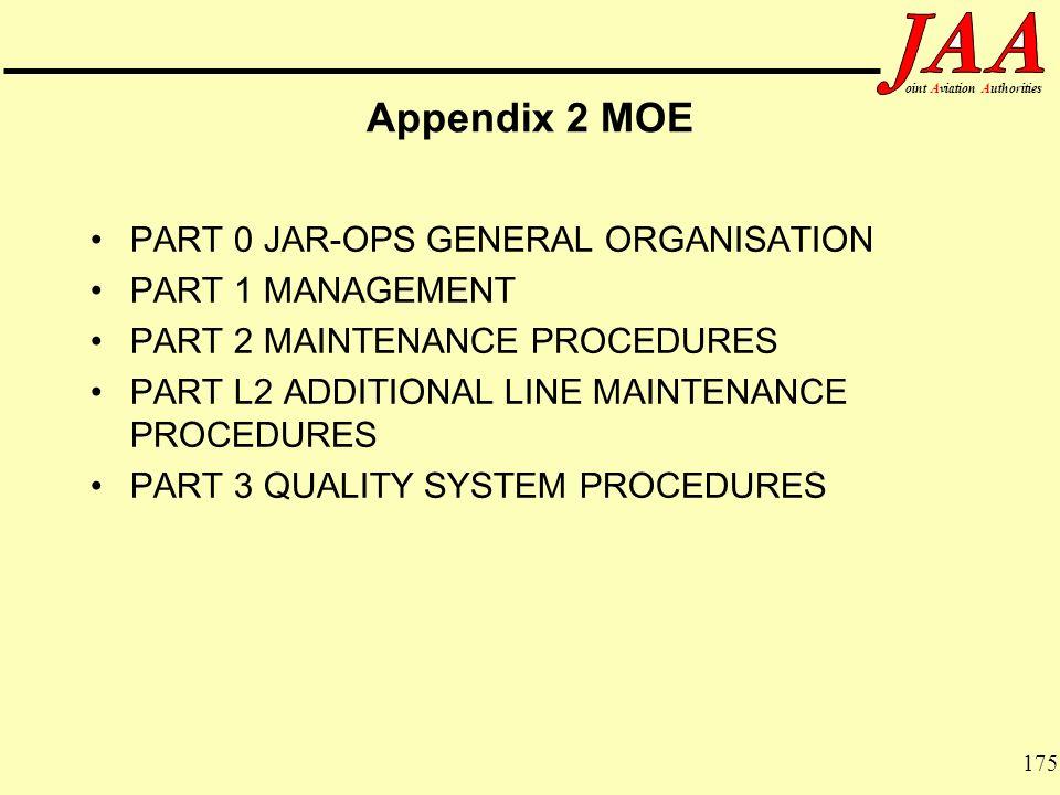 Appendix 2 MOE PART 0 JAR-OPS GENERAL ORGANISATION PART 1 MANAGEMENT