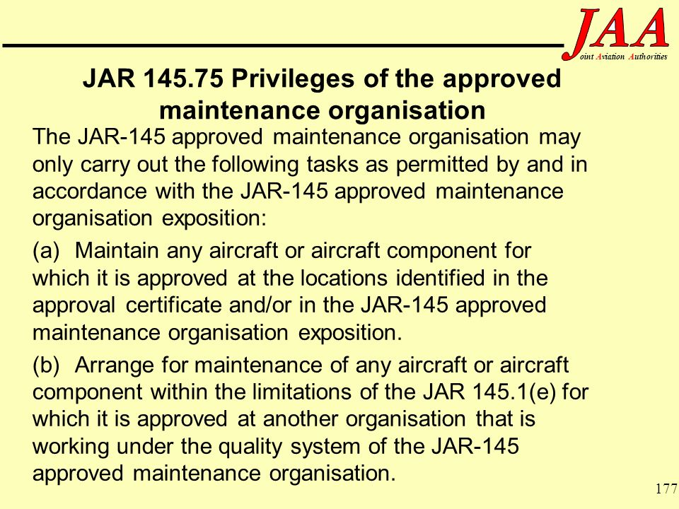 JAR Privileges of the approved maintenance organisation