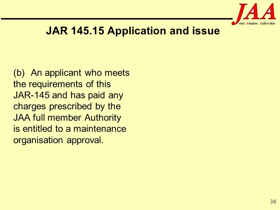 JAR 145.15 Application and issue