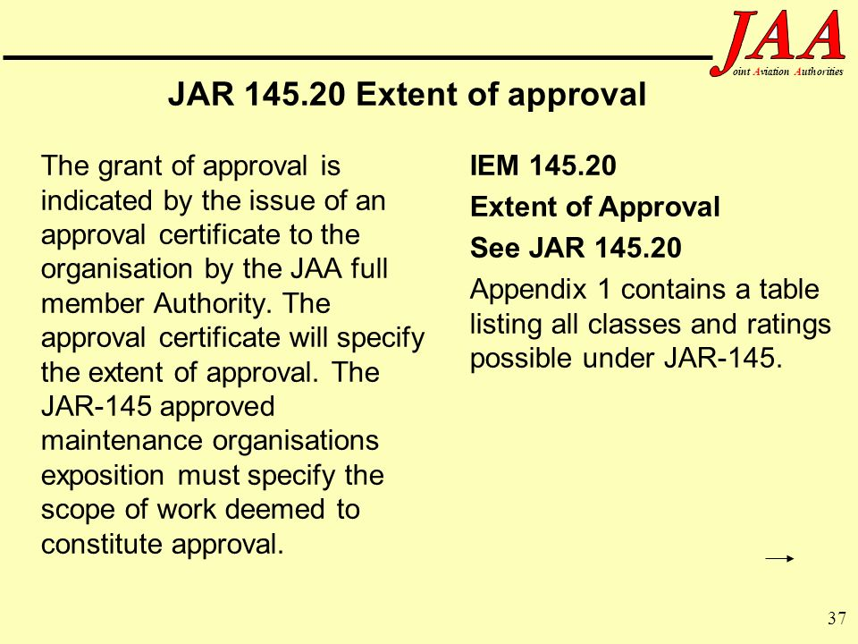 JAR Extent of approval Extent of Approval See JAR