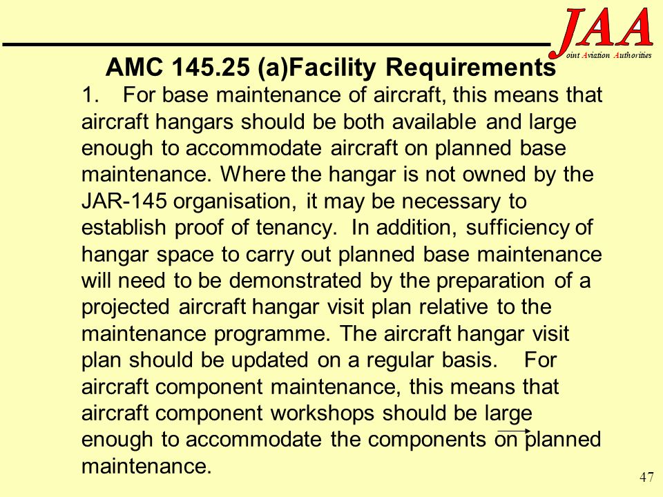 AMC (a)Facility Requirements