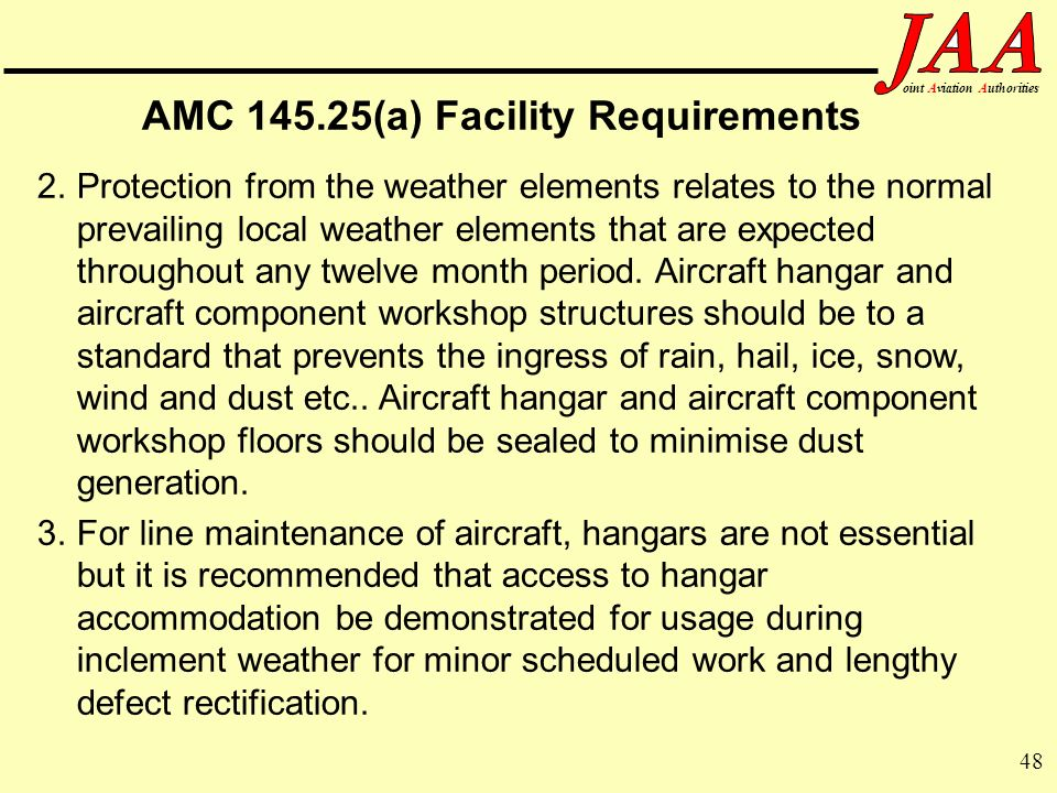 AMC 145.25(a) Facility Requirements