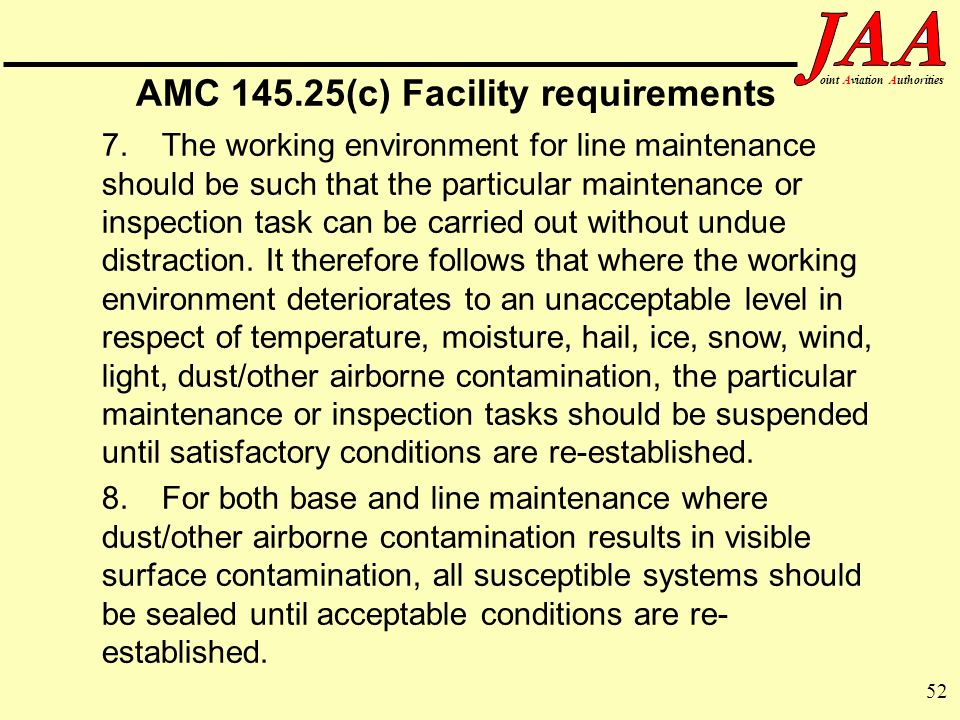 AMC (c) Facility requirements