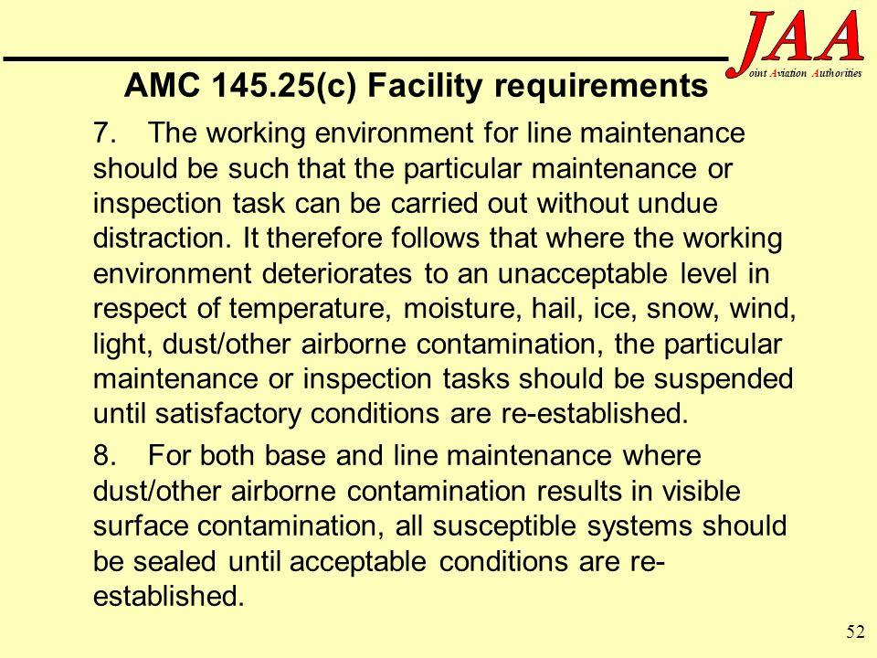 AMC 145.25(c) Facility requirements