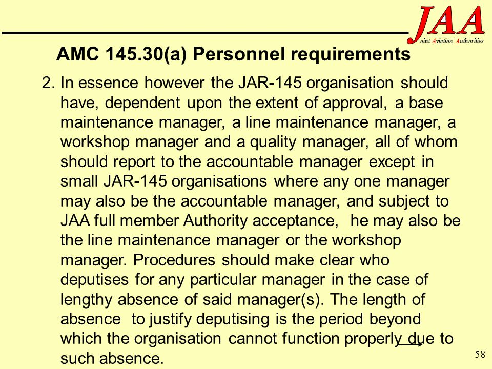 AMC (a) Personnel requirements