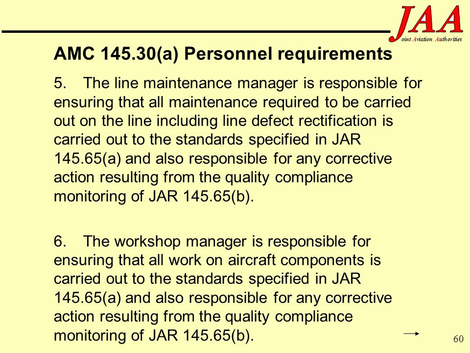 AMC 145.30(a) Personnel requirements