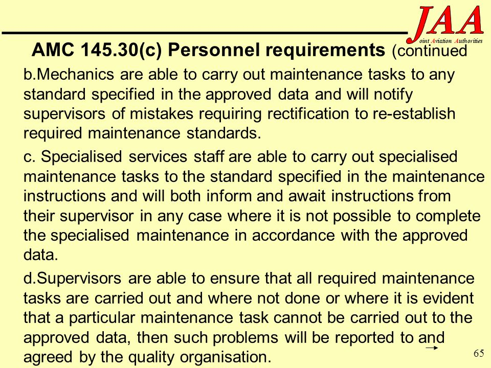 AMC (c) Personnel requirements (continued